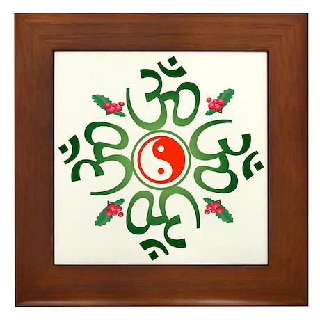 Zen Christmas Wreath Framed Tile