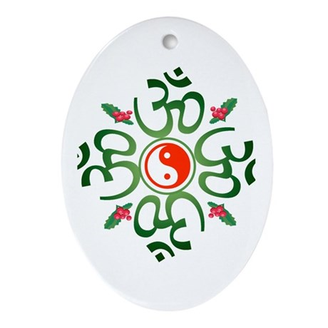 Zen Christmas Wreath Oval Ornament