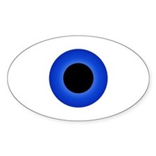 Solid Blue Eyeball Oval Decal