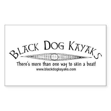 Black Dog Kayak Rectangle Sticker