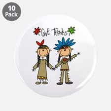 """Native American Thanksgiving 3.5"""" Button (10 pack)"""