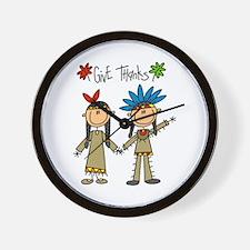 Native American Thanksgiving Wall Clock