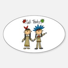 Native American Thanksgiving Oval Decal