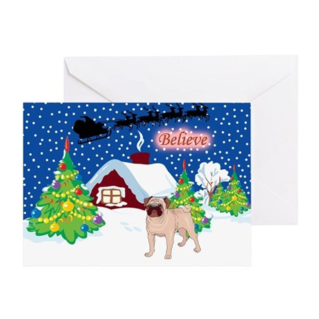 Believe Pug Greeting Card