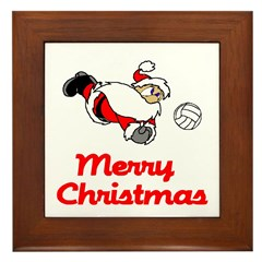 VolleyChick Santa Digs Christmas Framed Tile