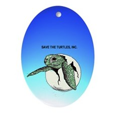 Save Turtle Babies Oval Ornament