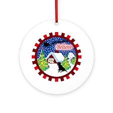 Believe Black Labrador Ornament (Round)