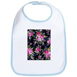 Rose Bouquets on a Black Background Baby Bib