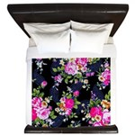 Rose Bouquets on a Black Background King Duvet