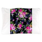 Rose Bouquets on a Black Background Pillow Case