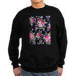 Rose Bouquets on a Black Background Sweatshirt