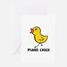 Piano Chick Greeting Card