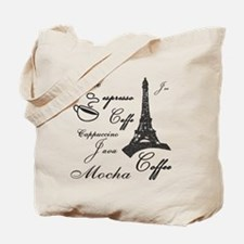 Paris Cafe Reusable Canvas Tote Bag