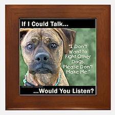 Stop Dog Fighting Framed Tile