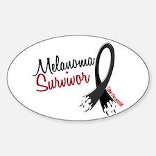Melanoma Survivor Frayed Ribbon Oval Decal