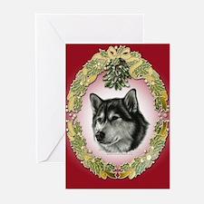 Alaskan Malamute Mistletoe Greeting Cards - 20 Pk