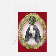 Bassett Hound Mistletoe Greeting Cards (Pk of 20)