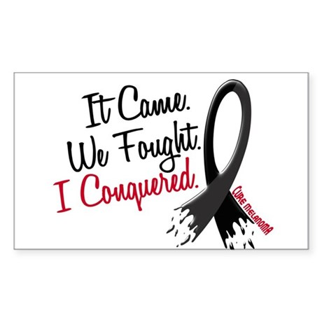 I Conquered Melanoma Frayed Ribbon Sticker (Rectan