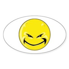 Smiley Face - Yellow Devil Oval Decal
