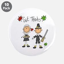 "Pilgrims Thanksgiving 3.5"" Button (10 pack)"