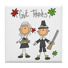 Pilgrims Thanksgiving Tile Coaster