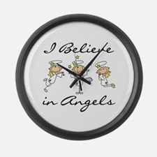 I Believe in Angels Large Wall Clock