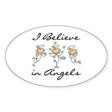 I Believe in Angels Oval Decal