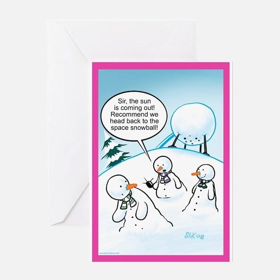 Snowmen Aliens Greeting Card