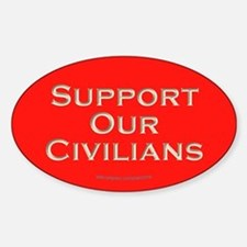 Support Our Civilians (Red) Oval Decal