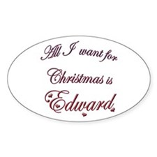Edward for Christmas Oval Decal