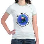 Swim Like a Shark or Sink Lik Jr. Ringer T-Shirt