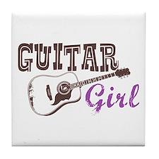 Guitar girl Tile Coaster