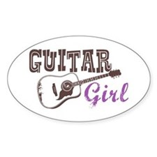 Guitar girl Oval Decal