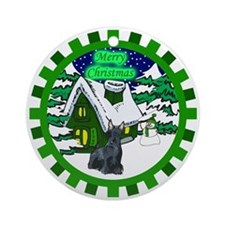 Country Scottie Christmas Ornament (Round)