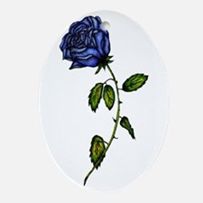 Blue Rose Oval Ornament