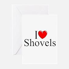 """I Love (Heart) Shovels"" Greeting Cards (Pk of 10)"