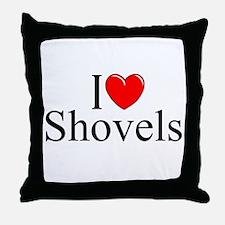 """""""I Love (Heart) Shovels"""" Throw Pillow"""