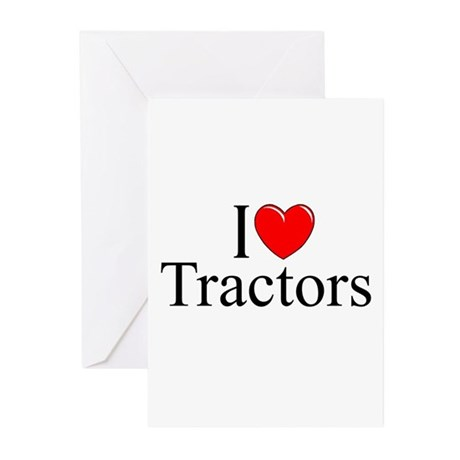 """""""I Love (Heart) Tractors"""" Greeting Cards (Pk of 10"""