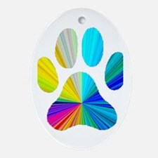 Paw Print Oval Ornament