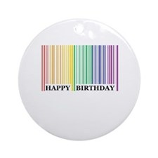 Happy Birthday Rainbow barcode Keepsake (Round)