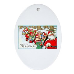Merry Christmas Santa Oval Ornament