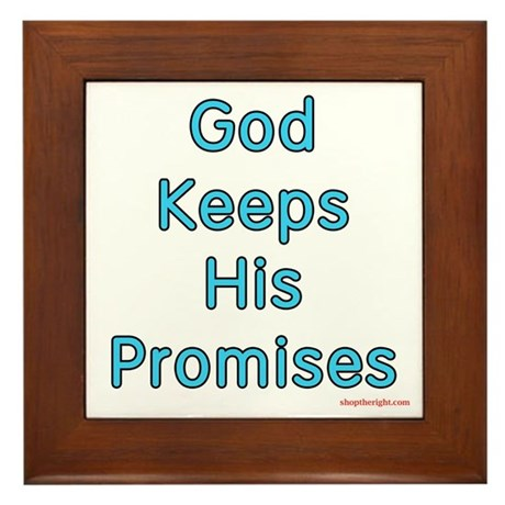 Blue God Keeps His Promises Framed Tile