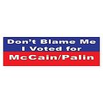 voted for McCain/Palin Bumper Sticker (10 pk)
