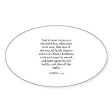 GENESIS 34:25 Oval Decal