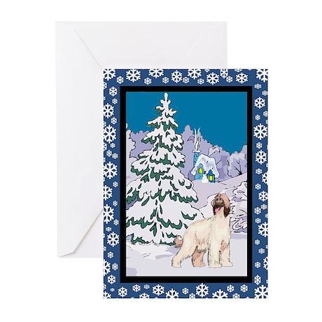 Winter Wonderland Afghan Hound Greeting Cards (Pk