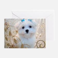 Maltese Blue Bows Greeting Card