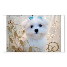 Maltese Blue Bows Rectangle Decal