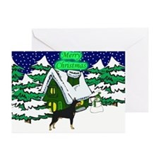 Country Doberman Christmas Greeting Cards (Pk of 2