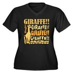 Giraffe!! Women's Plus Size V-Neck Dark T-Shirt
