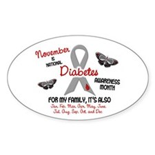 Diabetes Awareness Month 2.2 Oval Decal